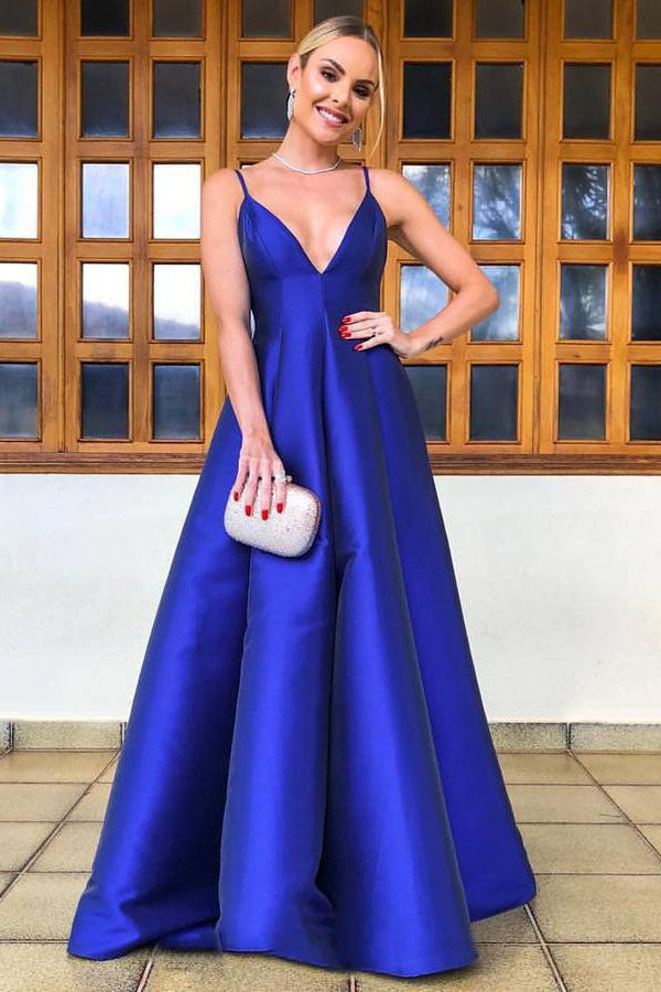 Elegant Spaghetti Straps Royal Blue Satin Prom Dress