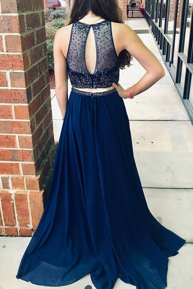 Two Piece Jewel Beaded Navy Blue Long Prom Dress with Keyhole Back