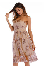 Strapless Floral Sequins Rose Gold Short Party Dress
