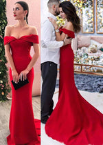 Gorgeous Mermaid Red Evening Dress with Off Shoulder