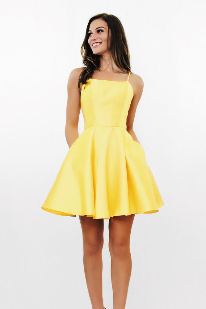 Spaghetti Straps Criss Cross Daffodil Homecoming Dress