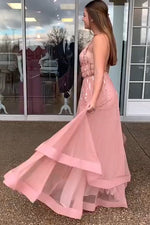 Tiered Sequins Long Blush Pink Prom Dress