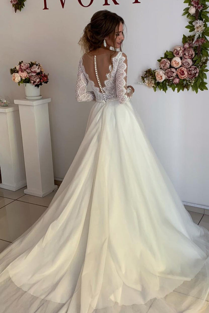Princess Long Sleeves A-line Ivory Wedding Dress with Lace