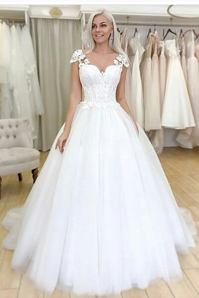 Princess Long Cap Sleeves A-line White Wedding Dress with Lace