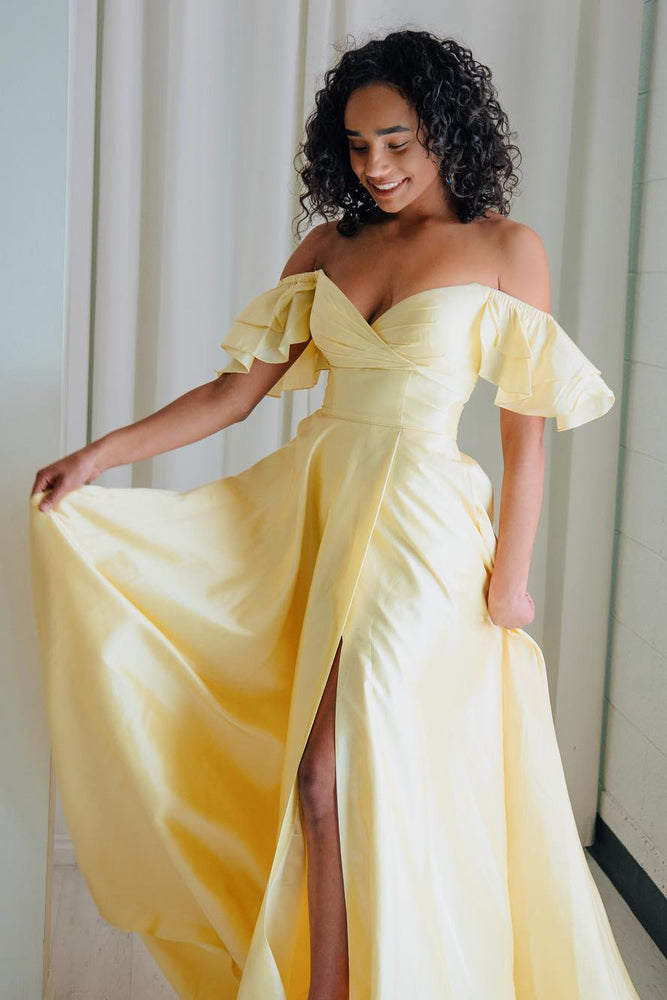 Off Shoulder Ruffles Long Yellow Prom Dress with Slit