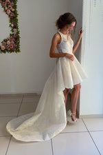 Princess A-line Halter High Low Ivory Lace Wedding Dress with Train