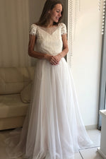 A-Line Short Sleeves Criss Cross Wedding Dress