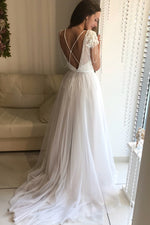 Princess Short Sleeves A-line White Wedding Dress with Lace Top
