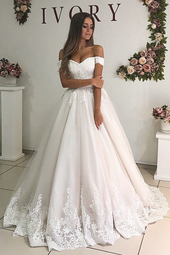 Princess Long A-line Off Shoulder Ivory Wedding Dress with Lace