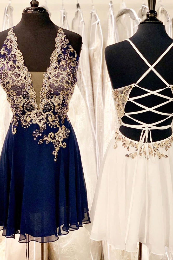 Lace-Up Beading Chiffon Navy Blue Formal Party Dress