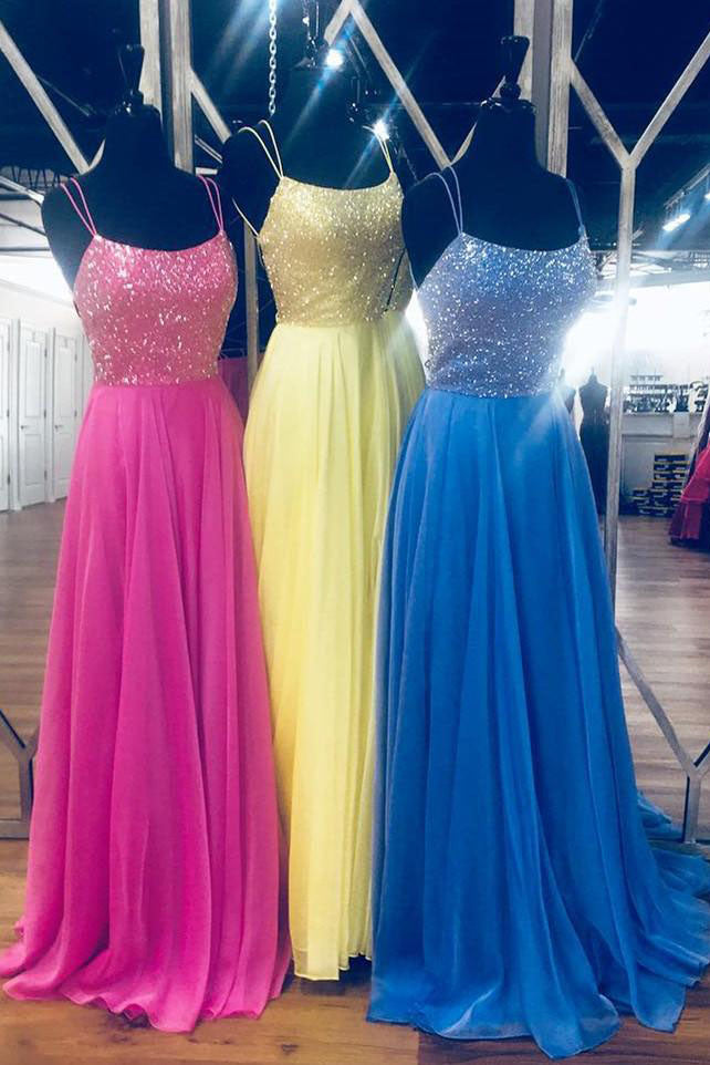 Blue Chiffon Long Prom Dress with Beaded Bodice