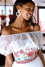 Two Piece Off Shoulder Floral Embroidery White Prom Dress