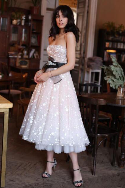 A Line Tea Length Party Dress with Stars