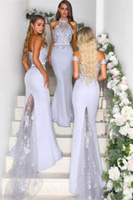 Mermaid Sequins Lilac Long Bridesmaid Dress