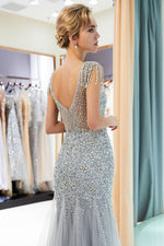 Cap Sleeves Mermaid Silver Evening Dress with Crystals / Tassel