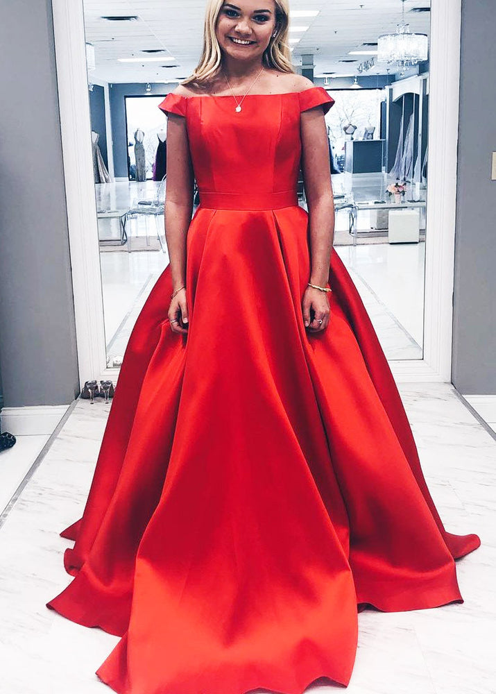 Gorgeous Off the Shoulder Warm Red Long Prom Dress
