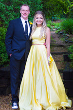 Two Piece High Neck Long Daffodil Prom Dress