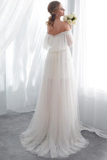 Long Lace-Up Off Shoulder A-line Ivory Wedding Dress