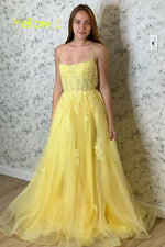 Elegant Straps Yellow Long Prom Dress with Lace Appliques