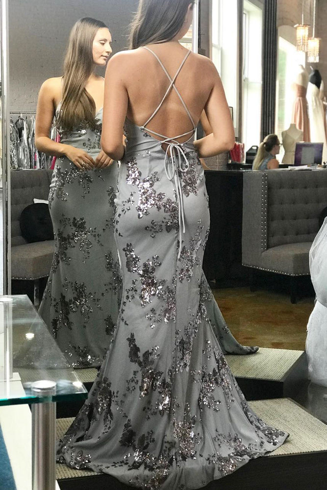 Mermaid Sequined Silver Prom Dress with Lace-Up Back