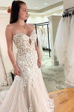 Sweetheart Fitted Ivory Mermaid Wedding Dress with Lace