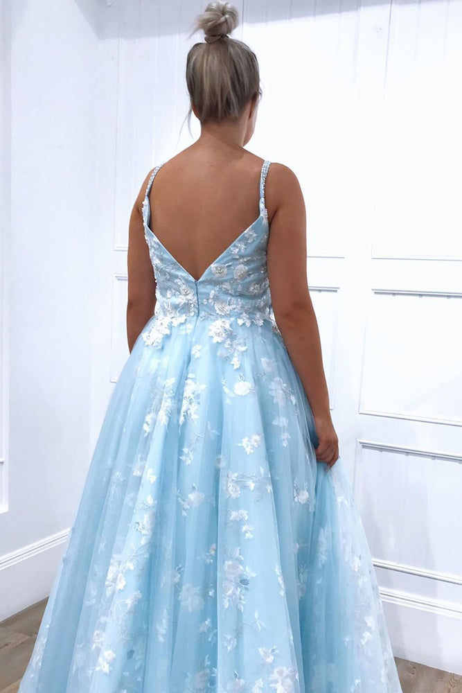 Beaded Straps Floral Appliques Light Blue Long Prom Dress