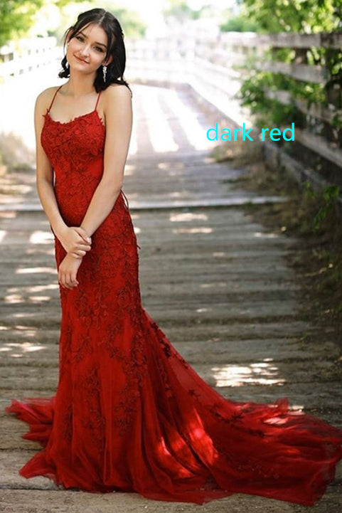 Mermaid Straps Long Dark Red Lace Prom Dress with Lace-Up