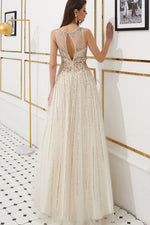 Elegant Ivory Beaded Long Prom Formal Dress