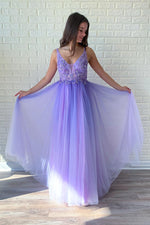 Beaded Open Back purple Long Prom Dress