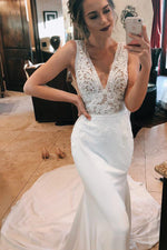 Princess Long V-Neck A-line White Wedding Dress with Lace Top