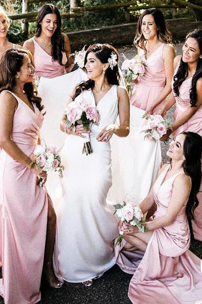 V-Neck Pink Bridesmaid Dress with Slit