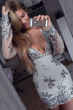 Plunging Neck Long Sleeves Silver Short Party Dress with Sequins