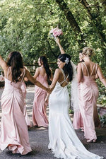 V-Neck Floor-Length Pink Bridesmaid Dress with Slit