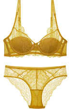 Free Shipping Gold Lace Lingerie Set