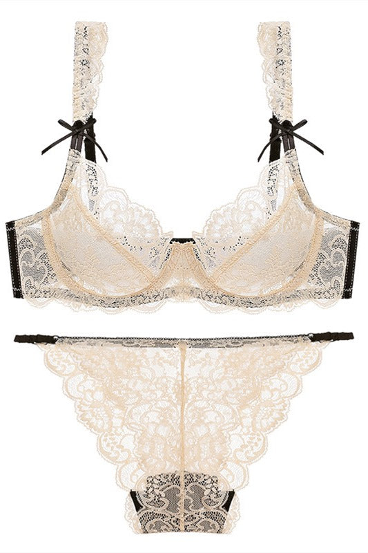 Illusion Beige Lace Lingerie Set