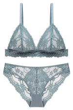 Triangle Blue Sage Lace Lingerie Set