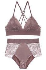 Sexy Triangle Deep Mauve Lingerie Set