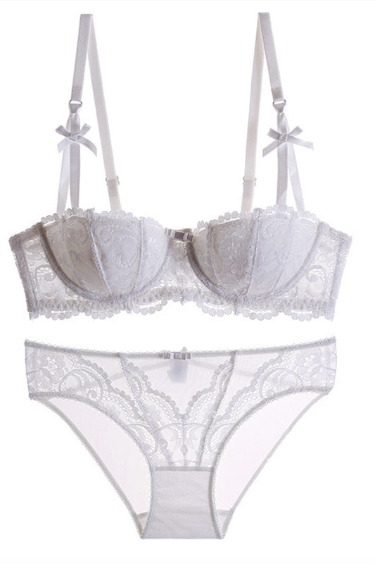 Sexy 1/2 Cup White Lace Lingerie Set