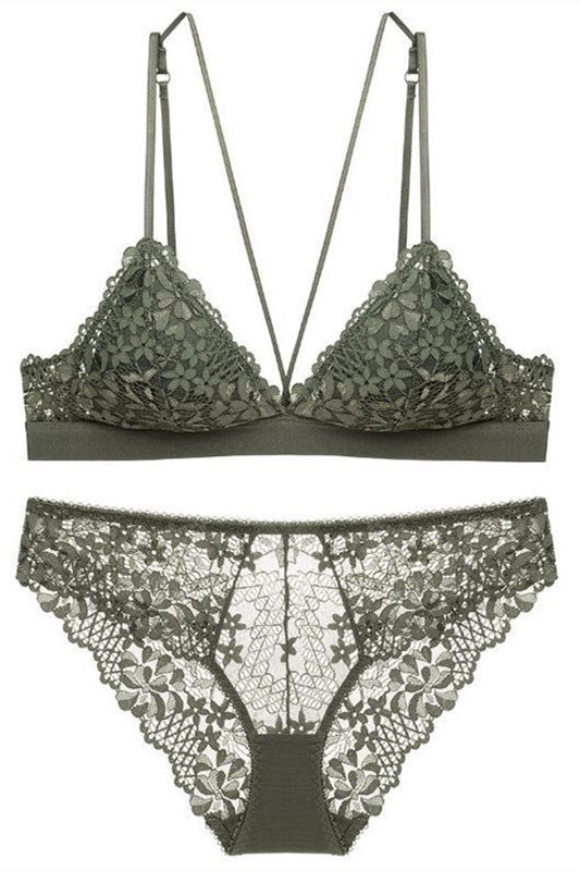 Sexy Triangle Lilac Lace Lingerie Set