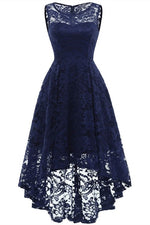 High Low Dark Blue Lace Mother of the Bride Dress