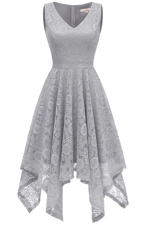 Asymmetrical Silver Lace Mother of the Bride Dress