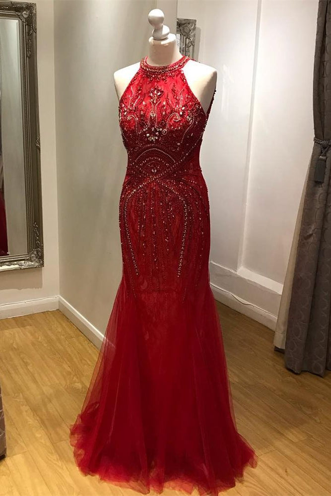Mermaid Halter Beaded Long Red Prom Dress