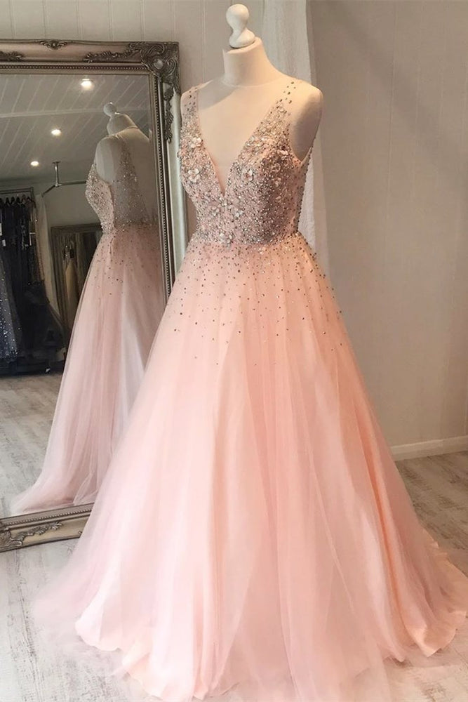 Elegant V-Neck Beaded Long Pale Pink Prom Dress