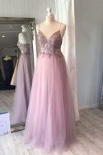 A-line Spaghetti Strap Lilac Prom Dress with Flowers