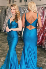 Mermaid V-Neck Royal Blue Long Prom Dress with Cutout