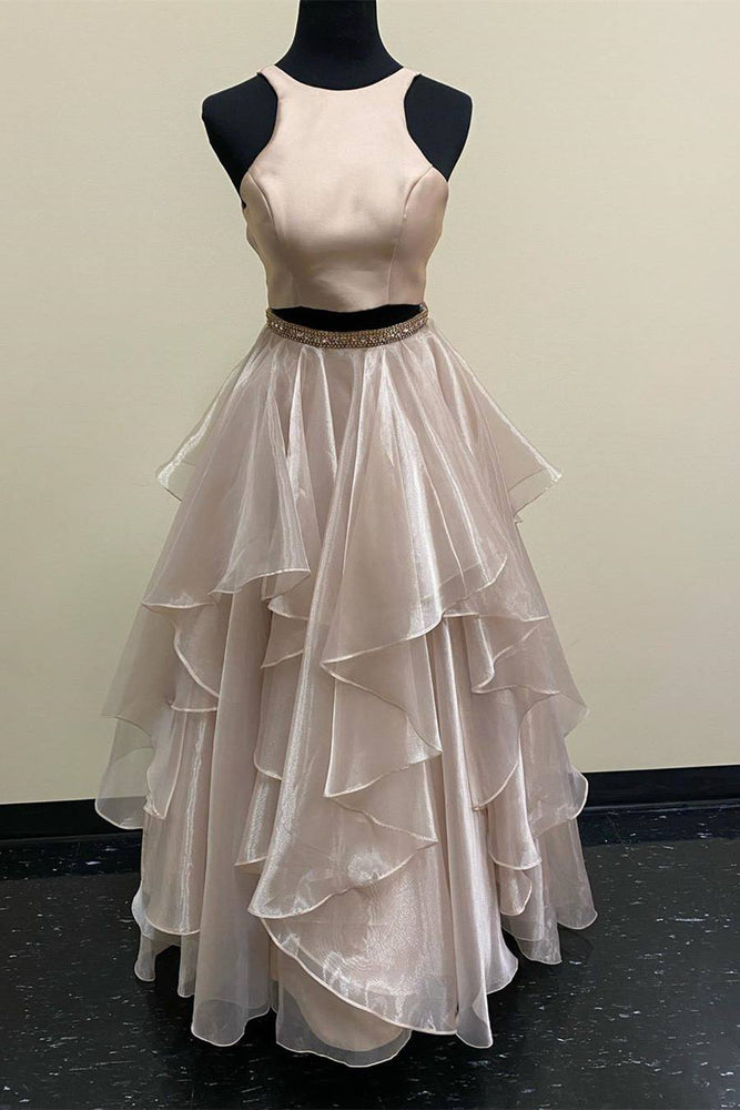 Two Piece Cascading Ruffles Long Champagne Prom Dress