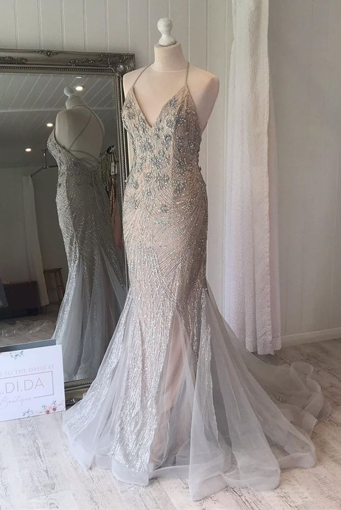 Mermaid Lace-Up Back Silver Long Prom Dress with Beads