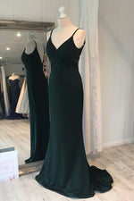 Mermaid V-Neck Dark Green Long Prom Dress