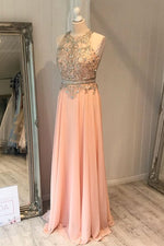Princess Beads Long Peach Chiffon Prom Dress