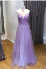 V-Neck Light Purple Tulle Long Prom Dress with Lace Top